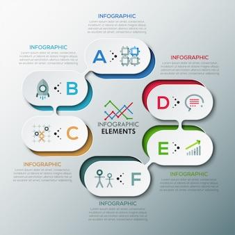 Bandiera di opzione infographic moderna con forme rotonde astratte