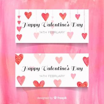 Bandiera di san valentino cuore appeso dell'acquerello