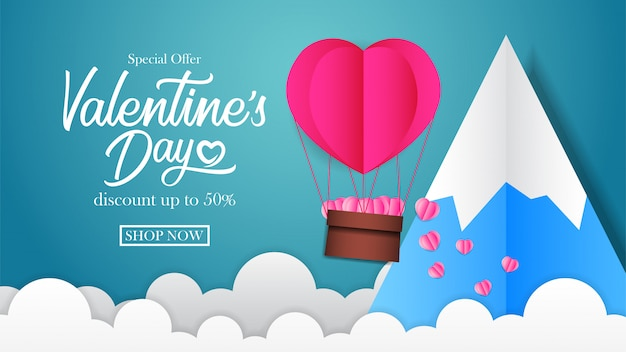 Bandiera di sconto di vendita di san valentino