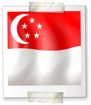 Bandiera di singapore su carta quadrata
