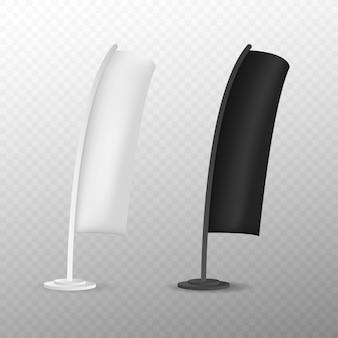 Bandiera di spiaggia in bianco di pubblicità della bandiera dell'arco di lacrima o insegna verticale del vento.