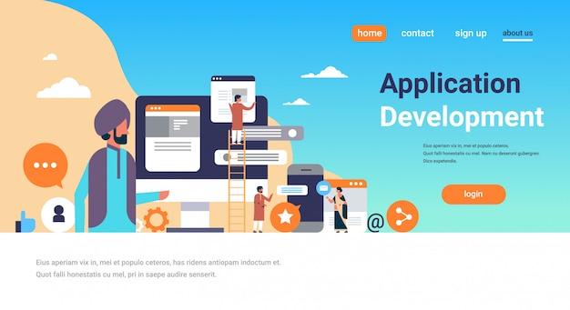 Bandiera di sviluppo di applicazioni mobili popolo indiano