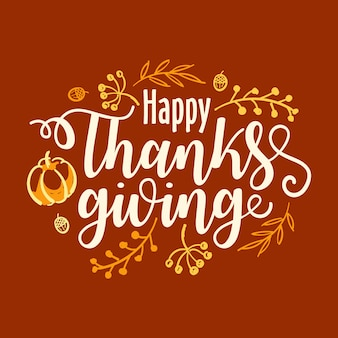 Bandiera di tipografia di ringraziamento felice disegnata a mano.