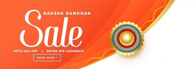 Bandiera di vendita arancione felice raksha bandhan