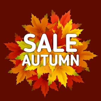 Bandiera di vendita di autunno, con caduta del mazzo di foglie, vendita di acquisto per la promozione dello shopping