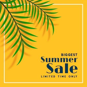 Bandiera di vendita di estate con foglie tropicali