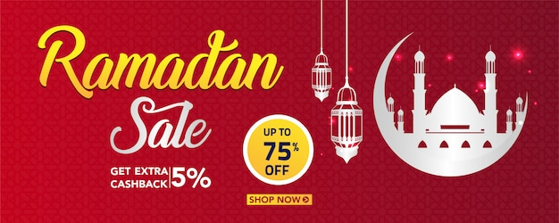 Bandiera di vendita di ramadan con lampade e ornamento