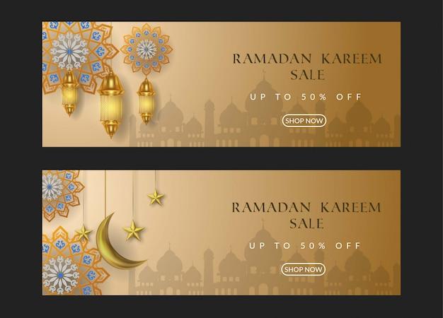 Bandiera di vendita di ramadan kareem con lampada dorata e luna