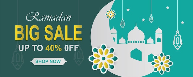 Bandiera di vendita di ramadan kareem orizzontale