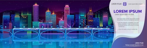 Bandiera di vettore con la città di notte in luci al neon