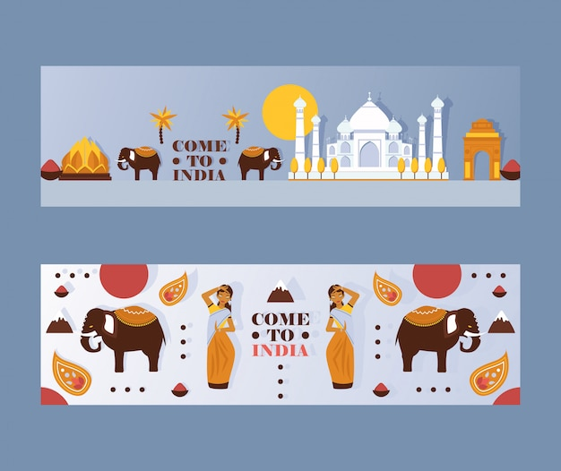 Bandiera di viaggio dell'india, intestazione del sito web dell'agenzia turistica con il simbolo della cultura indiana