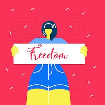 Bandiera di web della tenuta della donna che tiene bandiera piana di libertà