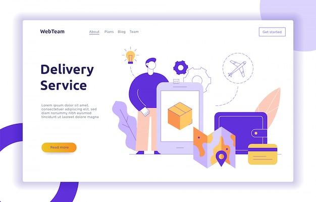 Bandiera di web di concetto di progettazione di servizio di consegna di vettore