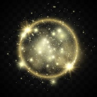 Bandiera dorata incandescente magica astratta.cerchio magico. buon natale. cornice rotonda dorata lucida con lampi di luce. polvere d'oro sul banner celebrativo