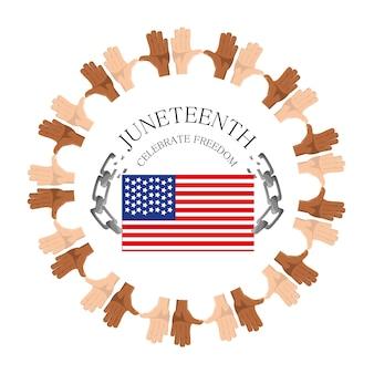 Bandiera e catena con le mani intorno per celebrare la libertà