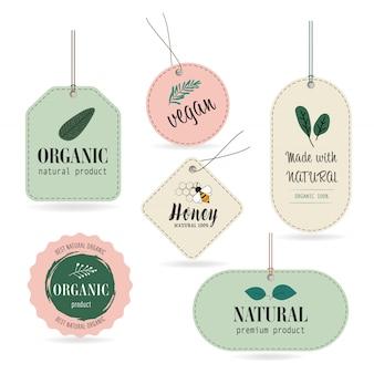 Bandiera e distintivo dell'etichetta dell'etichetta naturale e organica