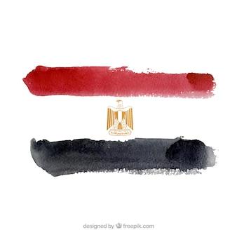 Bandiera egitto in stile acquerello