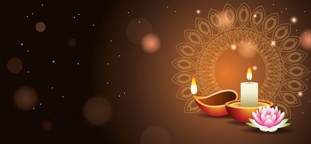 Bandiera felice di celebrazione indiana di diwali con la candela