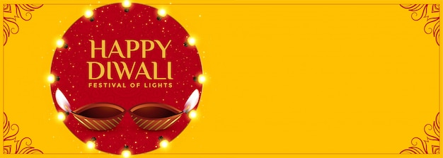 Bandiera felice di diwali gialla con il diya