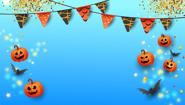 Bandiera felice di vendita di halloween con testo, simboli zucca, ghirlande colorate e caramelle su sfondo blu sfumato