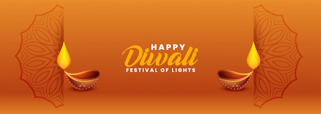 Bandiera felice elegante festival di diwali con diya