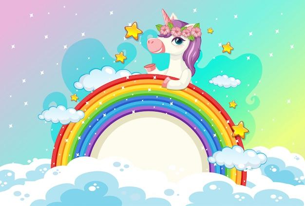 Bandiera in bianco con unicorno carino sullo sfondo del cielo pastello