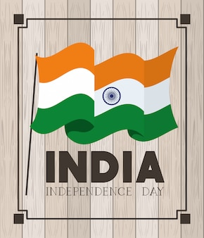 Bandiera indiana di festa dell'indipendenza con di legno