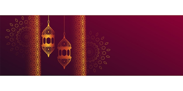 Bandiera islamica decorativa con lanterna appesa