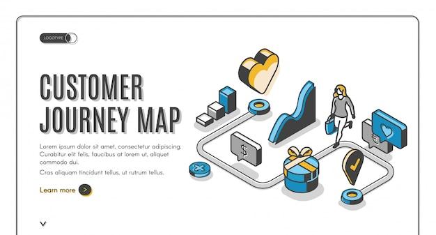Bandiera isometrica della mappa di viaggio del cliente