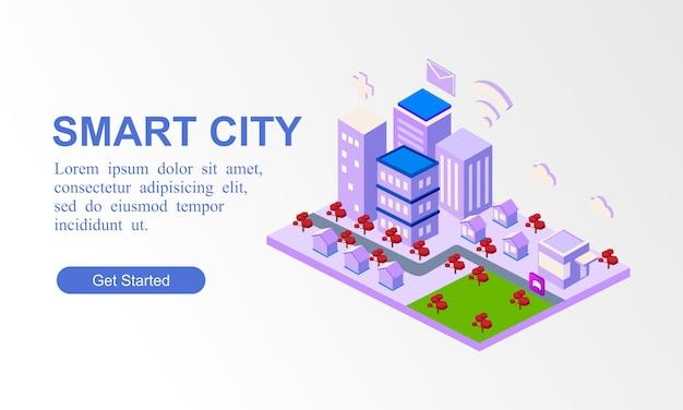 Bandiera isometrica moderna della città intelligente