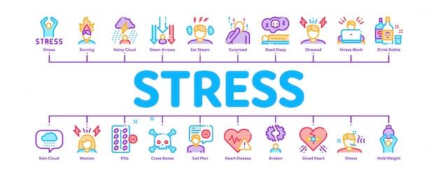 Bandiera minima di infografica di stress e depressione