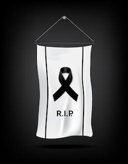 Bandiera mock up simbolo di lutto con nastro di rispetto nero su sfondo bianco