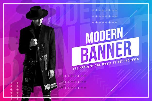 Bandiera moderna moda con sfondo astratto