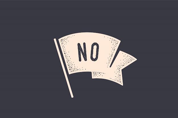Bandiera n. bandiera della vecchia scuola con testo n