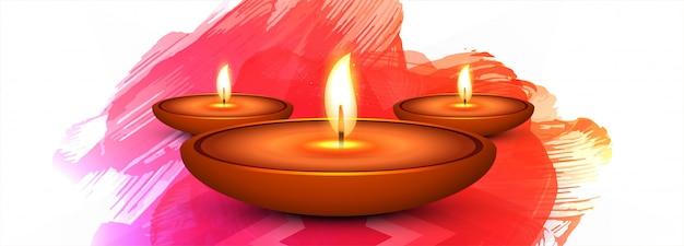 Bandiera o intestazione variopinta di festival felice di diwali