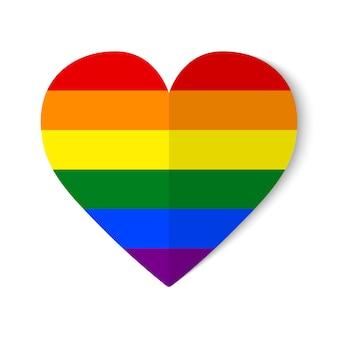 Bandiera orgoglio arcobaleno con stile origami su sfondo di cuore