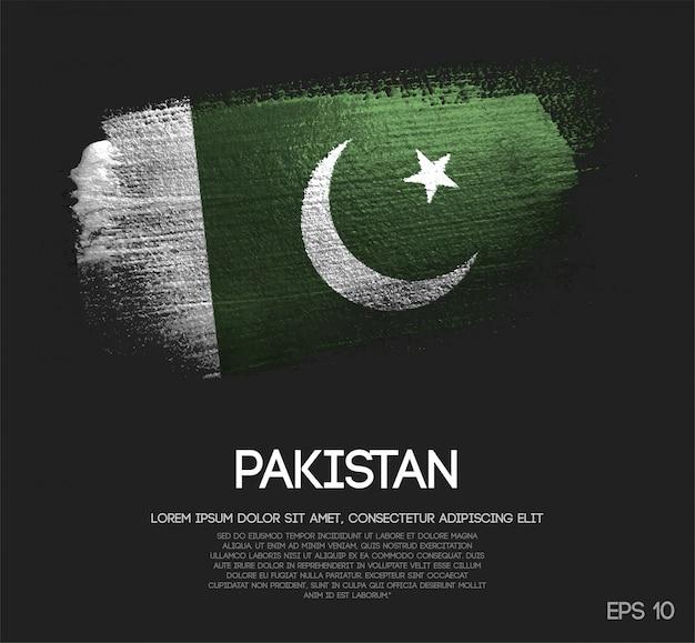 Bandiera pakistana realizzata con glitter scintillio pennello