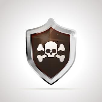 Bandiera pirata con teschio e ossa proiettata come uno scudo lucido