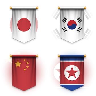 Bandiera realistica dello stendardo di giappone, corea del sud, cina e corea del nord