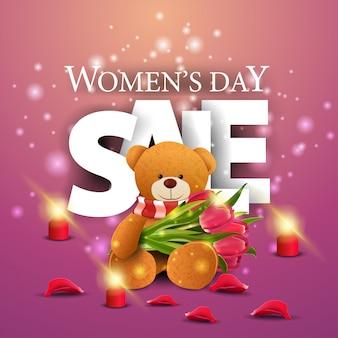 Bandiera rosa moderna di sconto giorno della donna con orsacchiotto