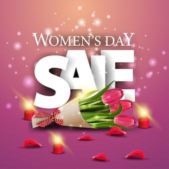 Bandiera rosa moderna di sconto giorno della donna