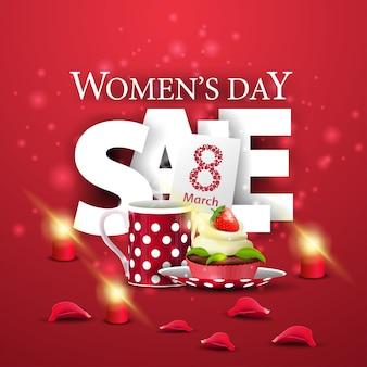 Bandiera rossa moderna di sconto di giorno delle donne con il bigné