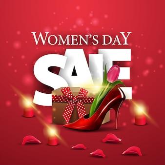Bandiera rossa moderna di sconto di giorno delle donne con la scarpa da donna