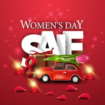 Bandiera rossa moderna di sconto giorno delle donne con auto con tulipano