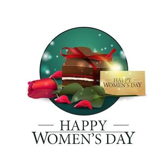 Bandiera rotonda della giornata delle donne con caramelle e rose
