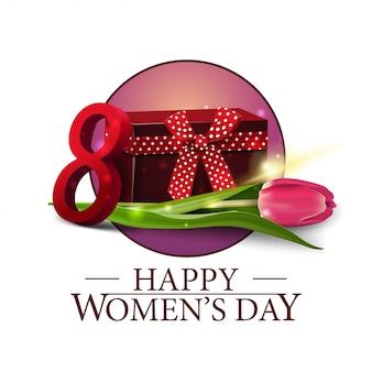 Bandiera rotonda della giornata delle donne con regalo e tulipano
