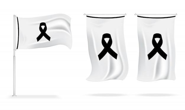Bandiera simbolo del lutto con nastro di rispetto nero