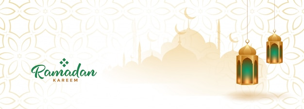 Bandiera stagionale musulmana ramadan kareem con lanterne appese