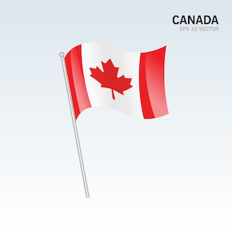 Bandiera sventolante canada isolato su sfondo grigio