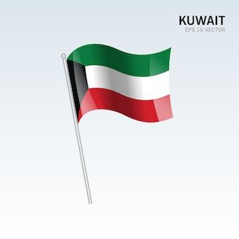Bandiera sventolante del kuwait isolato su sfondo grigio